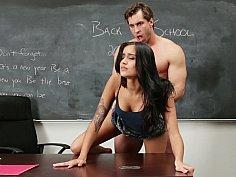 Cute college girl hardcored on her teacher's desk