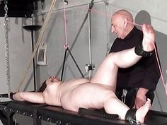 Rack tortured bbw in extreme bondage and crying