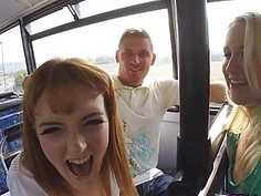 Anna and Lola ride on a bus and there filmed their nasty threesome