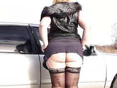 bbw hairy pissing by a pussy by the car
