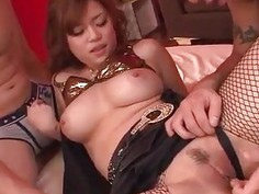 Nene Azami enjoys jizz over her huge tits