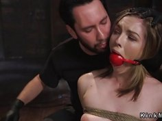 Blonde slave electro shocked in rope bondage