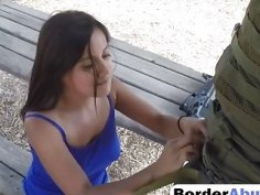 Teen Gets Pounded By Horny Border Guard Outdoors
