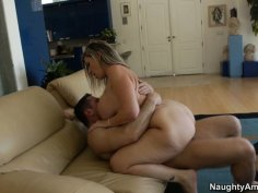 Blonde slut Sara Jay with big ass is fucked in doggy style