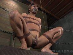 Pussy simulating of ebony starlet Nikki Darling in BDSM game