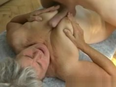 Hairy Grandma Takes Huge Young Cock