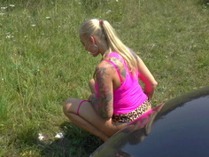 Russian prostitute Kayla Green hitchhiking in high heels and a mini skirt