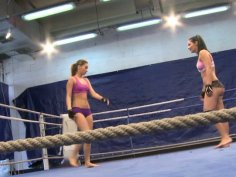 Lesbian wrestling on the ring by Aleska Diamond and Lana S
