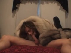Chelsea hooded fur coat blowjob part 1
