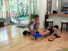 Cute Asian babe with big tits blows her sport instructor