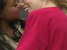 Ebony Sinnamon Love lesbosex with Lily LaBeau in the office