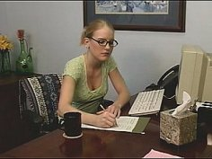 Adorable young office assistant masturbating at the desk