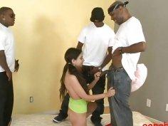 Slim teen slut gets her tight ass rammed by black men