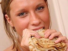 Blonde Slut Snacks On Jizz Crepes! C'est Bon!