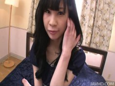 Black haired hoochie Mizutama Remon gets pussy fingering
