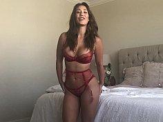 Busty Latina masturbates before anal