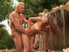 Horny Amazon Poppy Morgan gets fucked toughly near the waterfall