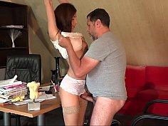 Spontaneous sex on a desk