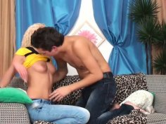 Kendall takes off her jeans and gives heavily blowjob