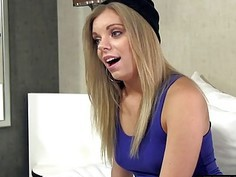 Hot blue eyed teen blonde first time shooting a porn movie