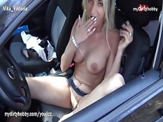 MyDirtyHobby Busty German MILF outdoors solo masturbation