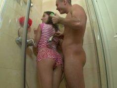 Teen brunette Janice getting fucked in the shower