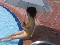 Big eyed Asian chick Kitano Nikki shows her video diary