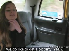 Classy lesbo flashes cunt in female fake taxi
