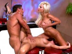 Hot threesome bar fuck with Kayla Synz & Puma Swede