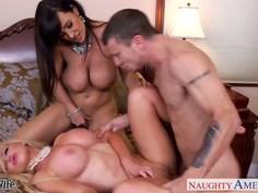 Hot wives Lisa Ann and Nikki Benz sharing a big di