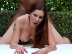 Busty brunette in an interracial casting scene gets creampied