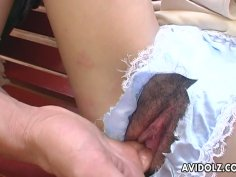 Kaoru Mugi getting her pussy fingerfucks throughthe hole in her pants