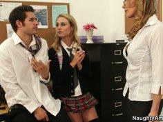 Filthy mature teacher Tanya Tate caught Charlee Monroe sucking cock