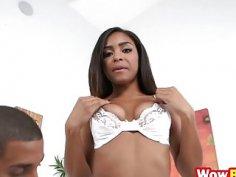 Ebony slut Nicole Bexley sucks and rides big dong