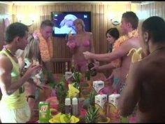 Voluptuous hot nymphos transform a Hawaii party into a group sex