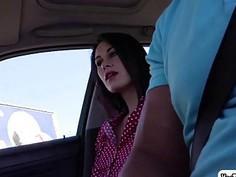 Tall hitchhiker Nikki Stills loves huge cock in the car