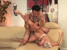 Horny blonde Giselle Monet with natural boobs rides dick