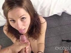 Cute first timer enjoys her porn debut cum facial