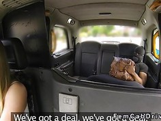 Black rober gets blowjob in fake taxi