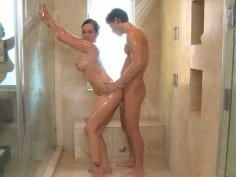 Exquisite brunette Tory Lane blows cock in the bathroom