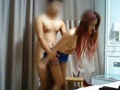 Amateur Chinese woman lifts her skirt for wild dick riding