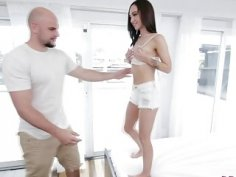 Petite Teen Lily Gets Roughly Pounded By Big Rod