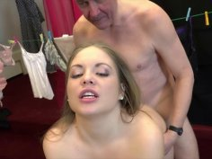 Innocent Teen Seduces Grandpa and he cum on her
