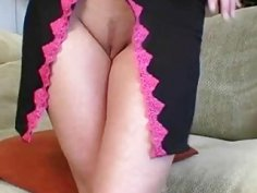 Solo blonde with big tits shoving dildo in pussy