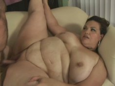 Extremely fat brunette Angelina sits on the face of a poor guy