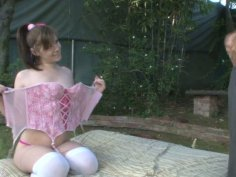 Angel Cakes fucks hard after a romantic dinner on a lawn