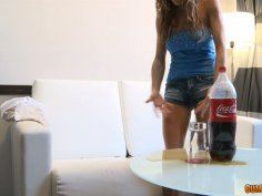 Sexy blonde babe gets pranked with soft drink bottle