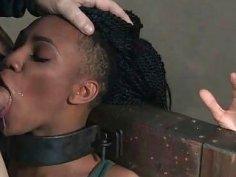 Black Slave Slut is Throat Overloaded