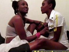 Amateur African lesbians enjoy using pink dildo