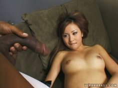 Flexible chick with sweet tits gets cunnilingus provided by a black dude